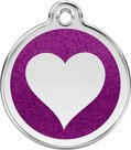 """Red_Dingo_hondenpenning_woef_en_co_purple_glitter_heart_sleutelhanger"""